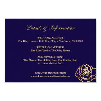 Carte d'or de directions de roses - bleu