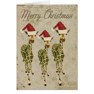 Carte d'or de fête de Joyeux Noël de girafes