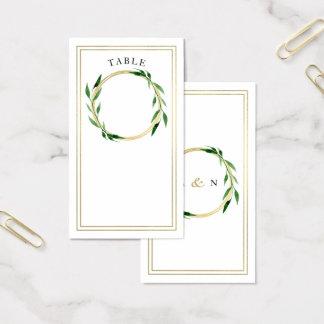 Carte d'or d'endroit de mariage de guirlande de