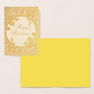 carte d'or florale d'aluminium d'arrière - plan de