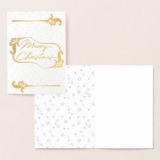 carte d'or florale d'aluminium de Joyeux Noël