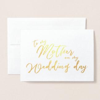 Carte Dorée À ma mère sur ma calligraphie de jour du mariage