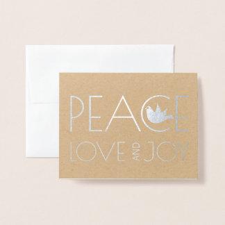 Carte Dorée Amour de paix et argent de photo de Noël de