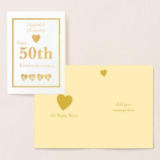 Carte Dorée Anniversaire de mariage d'or