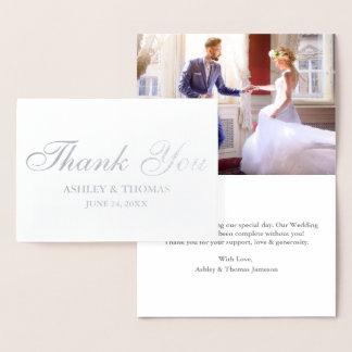 Carte Dorée Argent de photo de Merci de mariage