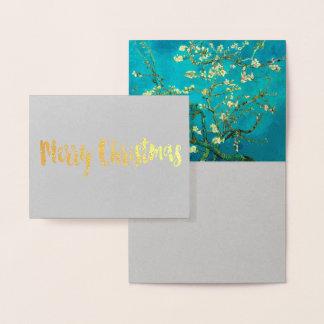 Carte Dorée Art floral se développant d'arbre d'amande de