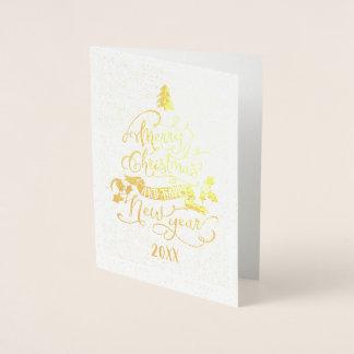 Carte Dorée Bonne année de calligraphie d'arbre de Noël