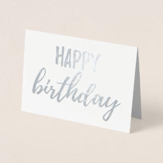 Carte Dorée Brosse d'aluminium argenté de joyeux anniversaire