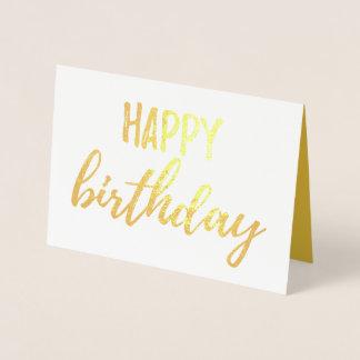 Carte Dorée Brosse de feuille d'or de joyeux anniversaire