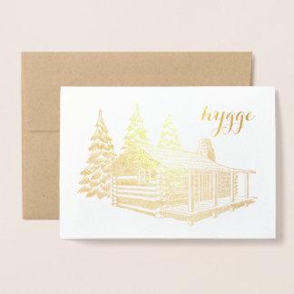 Carte Dorée cabine de hygge dans la feuille d'or en bois