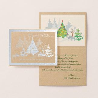 Carte Dorée Chèvres hivernales de Noël de souhaits de vrai