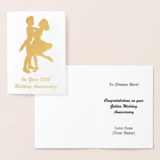 Carte Dorée cinquantième anniversaire de mariage (d'or) -