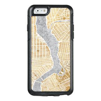Carte dorée de ville de New York Coque OtterBox iPhone 6/6s