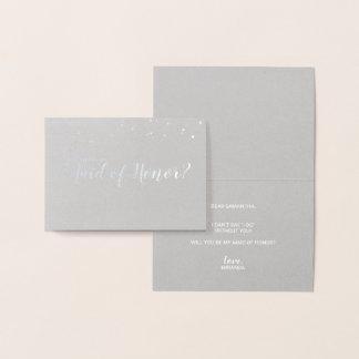 Carte Dorée Domestique d'argent élégant de confettis d'honneur