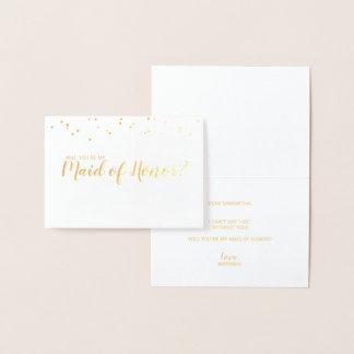 Carte Dorée Domestique d'or élégant de confettis d'honneur