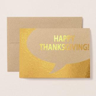 Carte Dorée Feuille d'or comique de bulle de bon thanksgiving