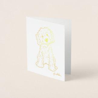 Carte Dorée Feuille d'or de KiniArt Goldendoodle