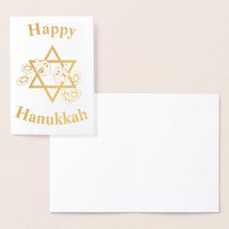 Carte Dorée Hannukah heureux