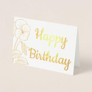 Carte Dorée Joyeux anniversaire d'aluminium floral