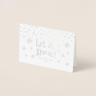 """Carte Dorée """"Laissez-le neiger"""" avec le nom de famille"""