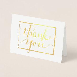 Carte Dorée Merci de calligraphie dans le cadre