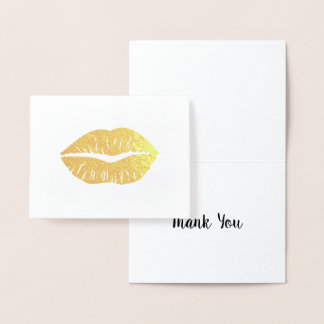 Carte Dorée Merci de rouge à lèvres d'or