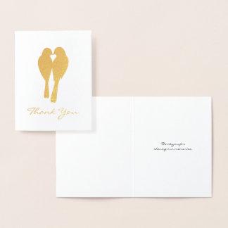 Carte Dorée Merci d'or de perruches d'anniversaire
