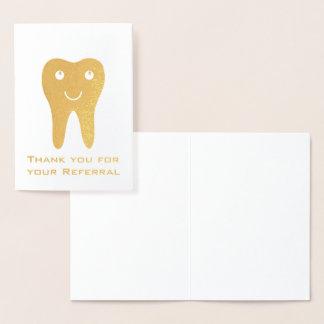 Carte Dorée Merci heureux de dent pour votre référence
