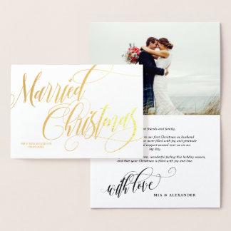 Carte Dorée Merci marié tourbillonnant de photo de mariage de