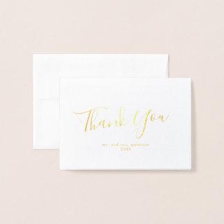 Carte Dorée Mini Merci de mariage de feuille d'or minimaliste