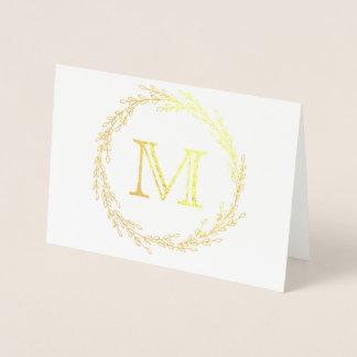 Carte Dorée Monogramme de guirlande de feuille d'or