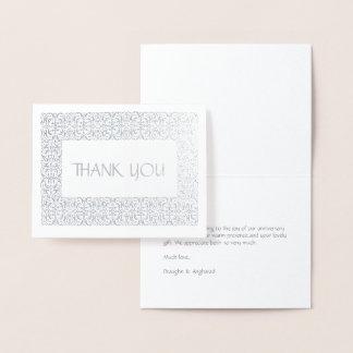 """Carte Dorée Note argentée d'aluminium de """"Merci"""" de"""