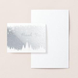 Carte Dorée Note de Merci de scène d'hiver d'aluminium argenté