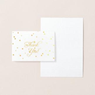 Carte Dorée Notes élégantes de Merci de feuille d'or