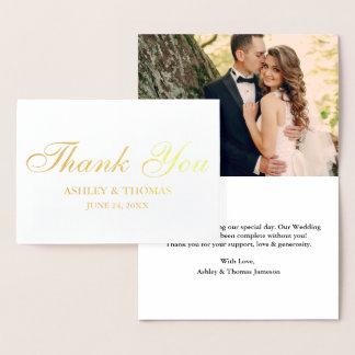 Carte Dorée Or de Merci de photo de mariage