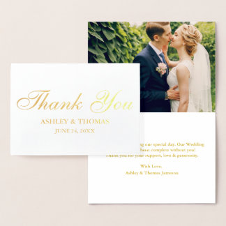 Carte Dorée Or de photo de Merci de mariage