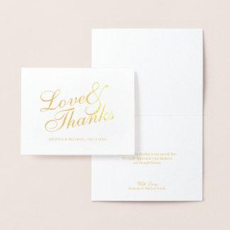 """Carte Dorée Or élégant de Merci de mariage de """"Love&Thanks"""""""