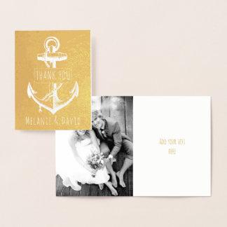 Carte Dorée Or nautique de mariage d'ancre blanche vintage