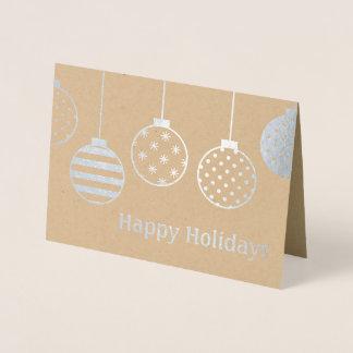 Carte Dorée Ornements de Noël d'aluminium argenté bonnes fêtes