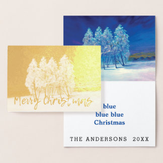 Carte Dorée Peinture originale bleue d'arbres de Noël de pin