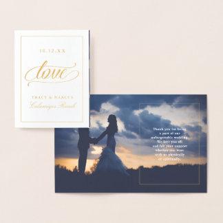 Carte Dorée Photo de Merci de mariage d'amour d'or