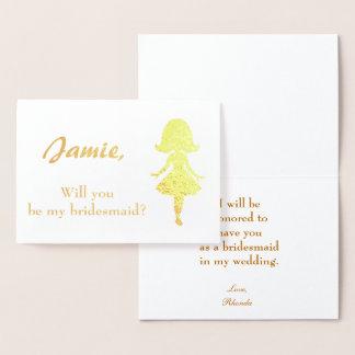Carte Dorée Silhouette de femme de proposition de demoiselle