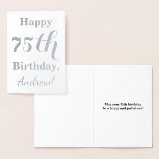 Carte Dorée Soixante-quinzième anniversaire simple d'aluminium