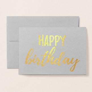 Carte Dorée Traçage gris de brosse de feuille d'or de joyeux