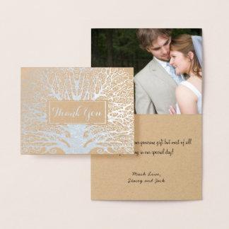 Carte Dorée Votre Merci de mariage de chêne d'aluminium