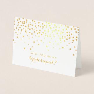 Carte Dorée Vous serez mes confettis de feuille d'or de la