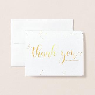 Carte Dorée VRAI Merci personnalisable de confettis de feuille
