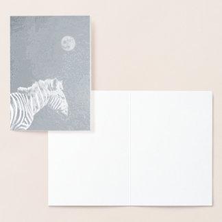 Carte Dorée Zèbre d'aluminium argenté avec la lune