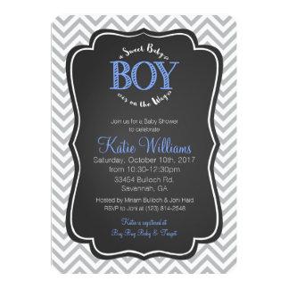 Carte douce bleue d'invitation de baby shower de