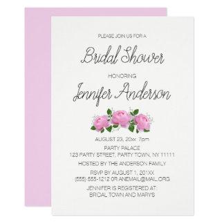 Carte Douche nuptiale blanche de rose simple de rose